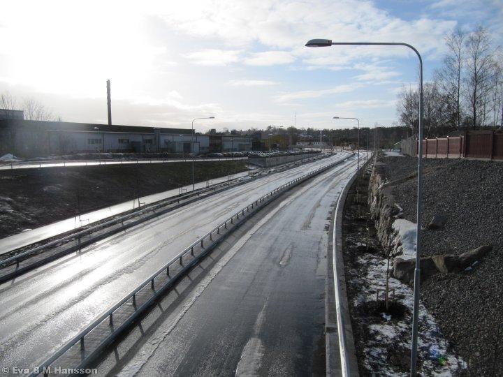 En del av Östra länken. Tannefors kl 12:44 den 5 februari 2013.