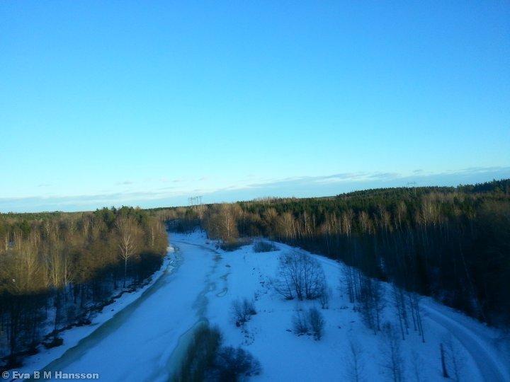 Vy över Göta kanal. Norsholmsbron kl 16:34 den 1 mars 2013.