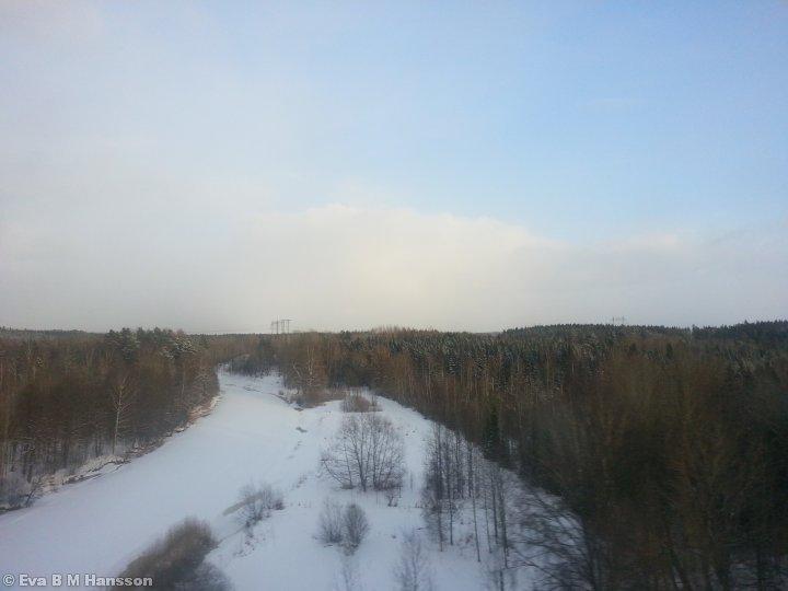 Snölandskap. Norsholmsbron kl 16:37 den 13 mars 2013.